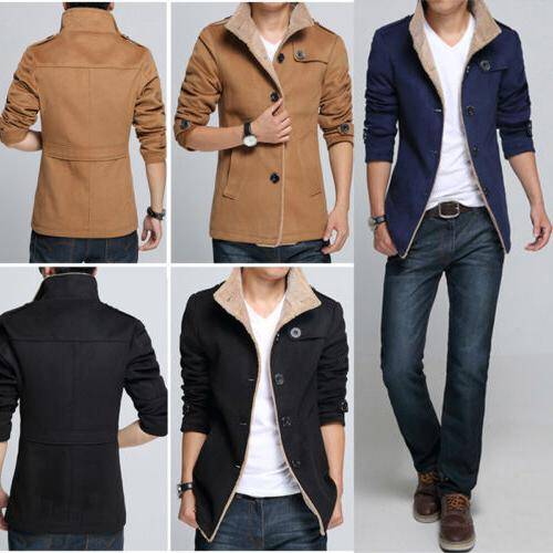 Mens Winter Trench Coat Warm Thick Faux Fur Jacket Long Tops