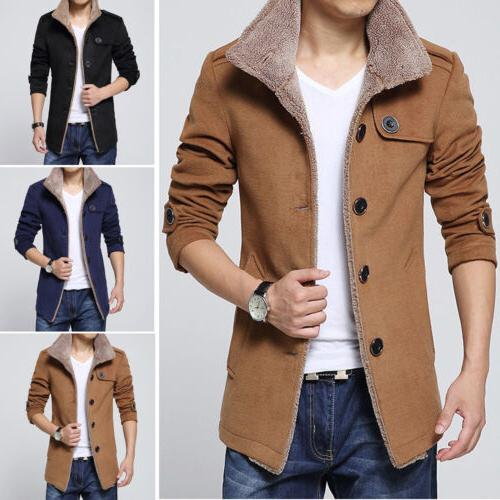mens winter trench coat warm thick faux