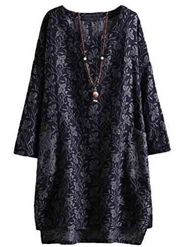 Minibee Women's Long Sleeve Hi-Low Pullover Jacquard Ethnic