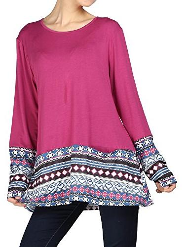 Minibee Women's Plus Size Tunic Crewneck Long Sleeve Shirt T