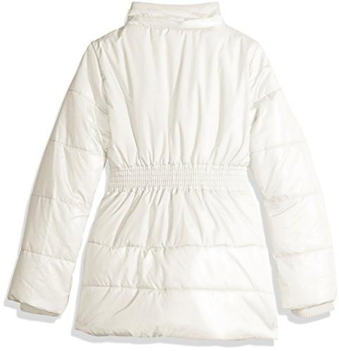 Nautica Girls' Weight Shine Jacket with Faux Fur Cream, 12