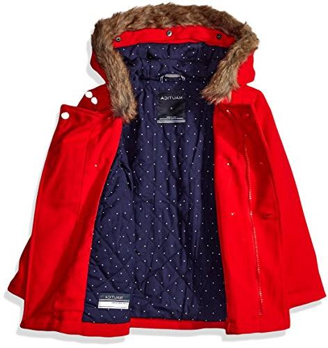 Peacoat with Faux Fur Trim, Red, 5
