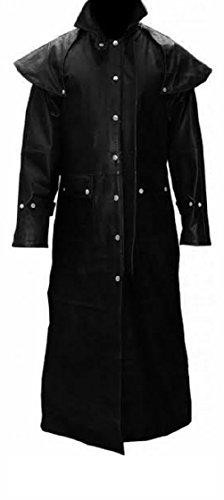 Olly And Ally Mens Real Black Leather Duster Riding Hunting
