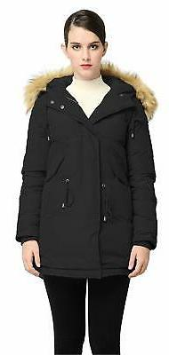 Orolay Women Down Jacket Winter Thick Parka Hooded Coat Fur