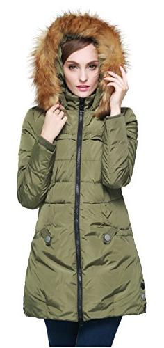 Orolay Women's Down Jacket with Faux Fur Trim Hood Green S