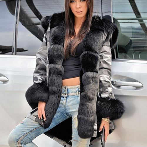 Roiii Size Womens Military Hooded Warm Winter Coats Parkas