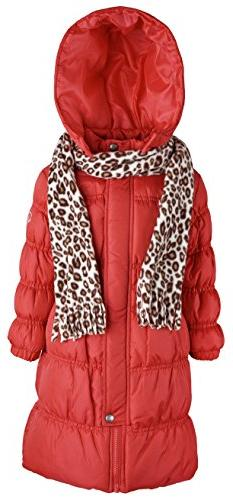Sportoli Little Girls Down Alternative Hooded Winter Long Pu