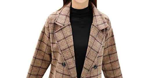 Tanming Breasted Long Plaid Pea Coat Outerwear