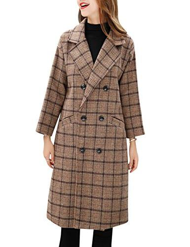Tanming Double Breasted Long Plaid Wool Pea Coat