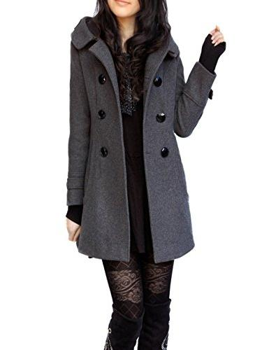Tanming Women's Winter Double Breasted Wool Pea Coat Hood