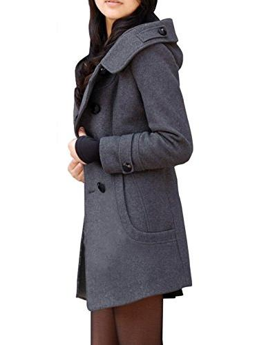 Tanming Women's Winter Double Breasted Pea Coat with