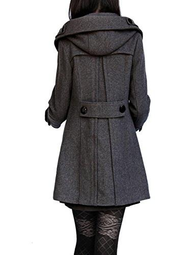 Tanming Women's Double Breasted Wool Pea Coat with Hood