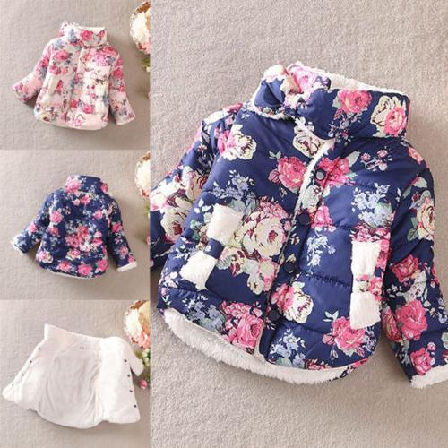 Toddler Kids Girls Floral Puffer Bubble Warm Thick Coat