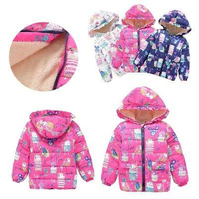 2-7Y Toddler Baby Kids Boys Girl Warm Hooded Floral Coat Win