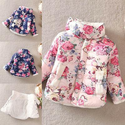 Toddler Kids Floral Puffer Thick Warm Outerwear