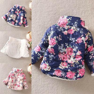 Toddler Baby Kids Floral Puffer Jacket Thick Warm Coat
