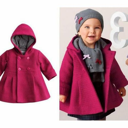 Toddler Kids Baby Girls Winter Warm Trench Coat Hooded Outer