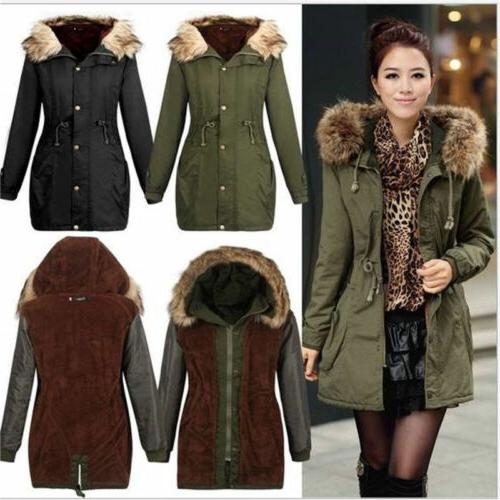 US Stock Womens Hoodie Fur Winter Coat Outwear Quilting Park