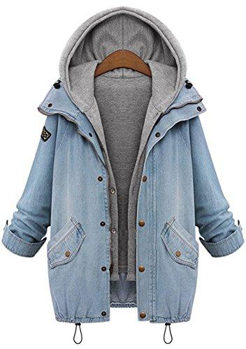 Vocni Women Denim Jeans Winter Removable Vest Hoodie Long Co
