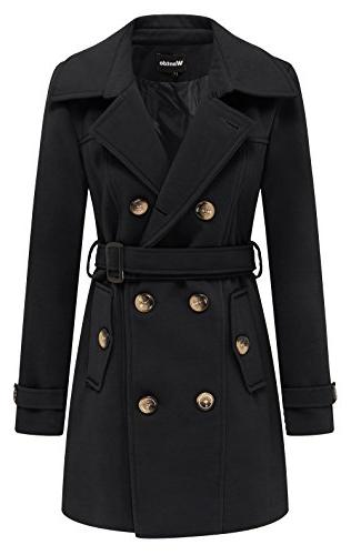 Wantdo Women's Double Breasted Pea Coat with Belt US X-Large