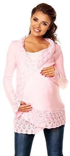 Zeta Ville - Womens Maternity Cardigan with Crochet Details