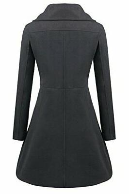 Zeagoo Button Winter Long Trench Black Large
