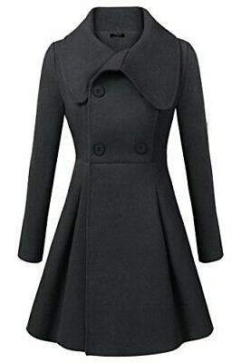 black button winter long trench jackets coat