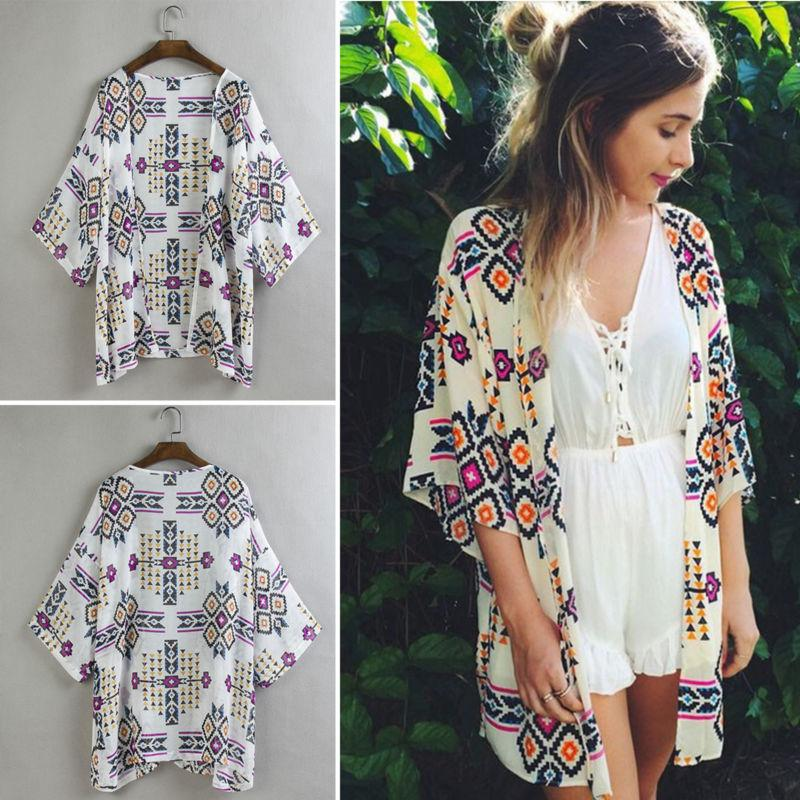 Boho Women's Cover Up Loose Floral Cardigan Ladies Jacket Size