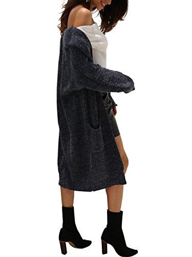 Simplee Front Sleeve Knit Pockets,Navy