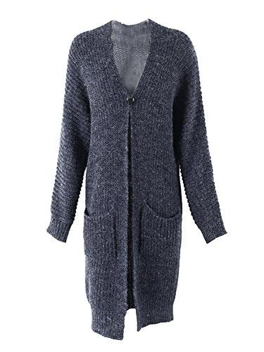Simplee Front Knit Cardigan Sweater Coat with Pockets,Navy Blue,One Size