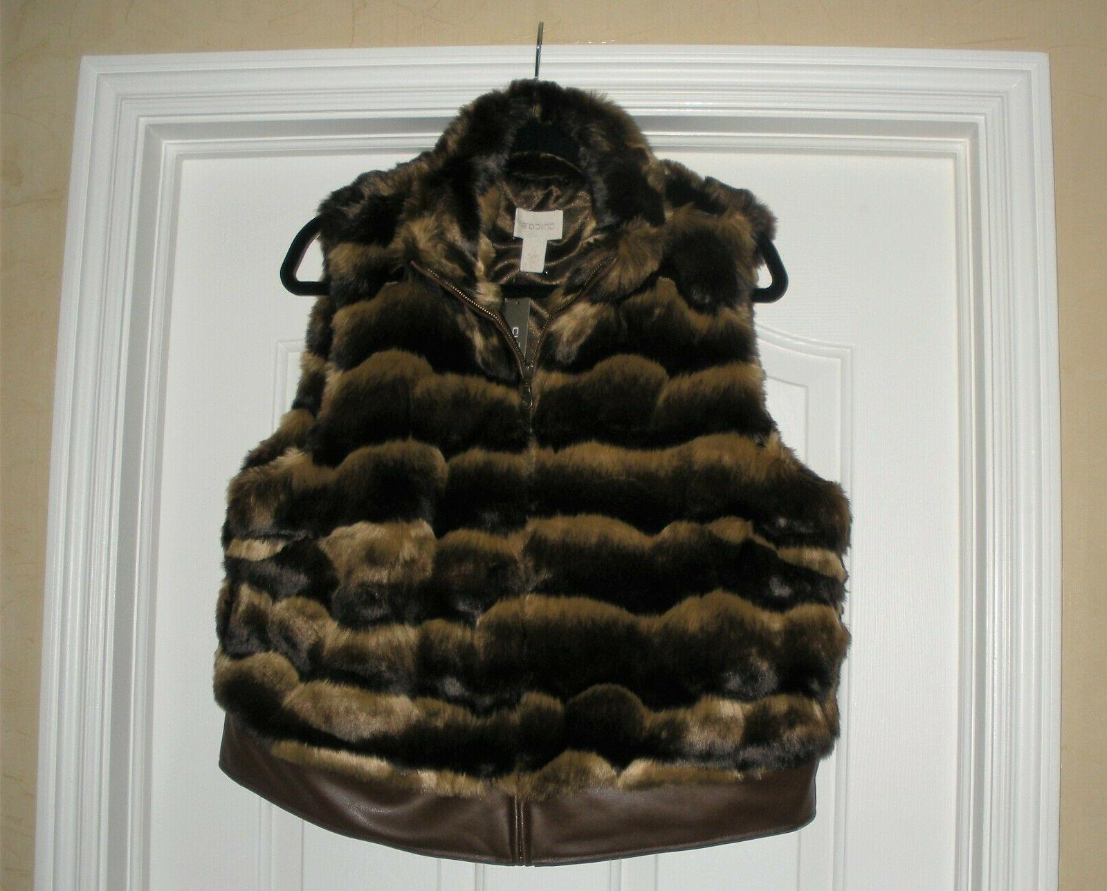 chico s faux fur and leather vest
