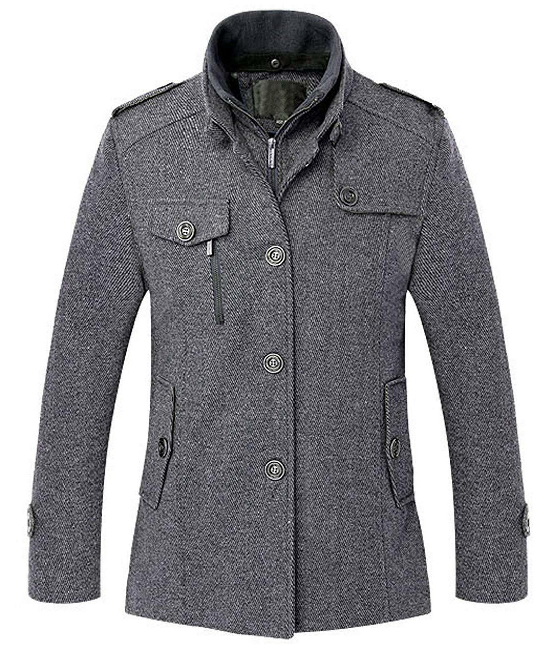 Chouyatou Wool Single Breasted Military Peacoat