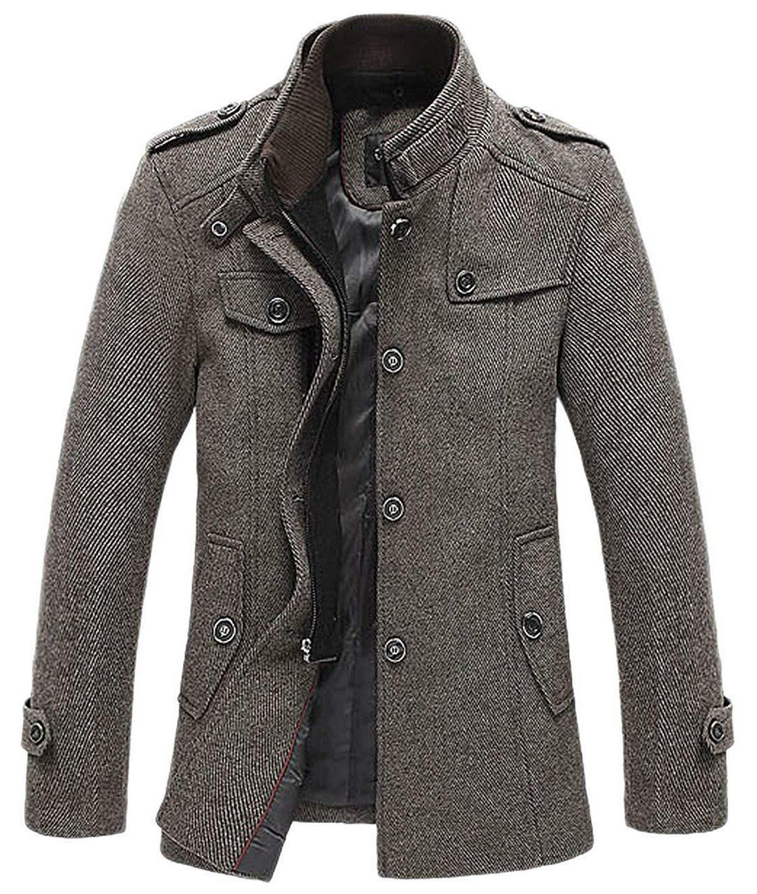 Chouyatou Wool Blend Breasted Military Peacoat