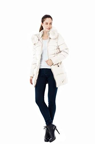 Valuker Women's Coat with Fur Parka Puffer Jacket
