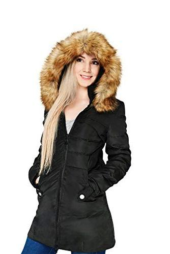 Beinia Valuker Women's Coat Hooded 90D Puffer Jacket Plus Size 57-Black-2X