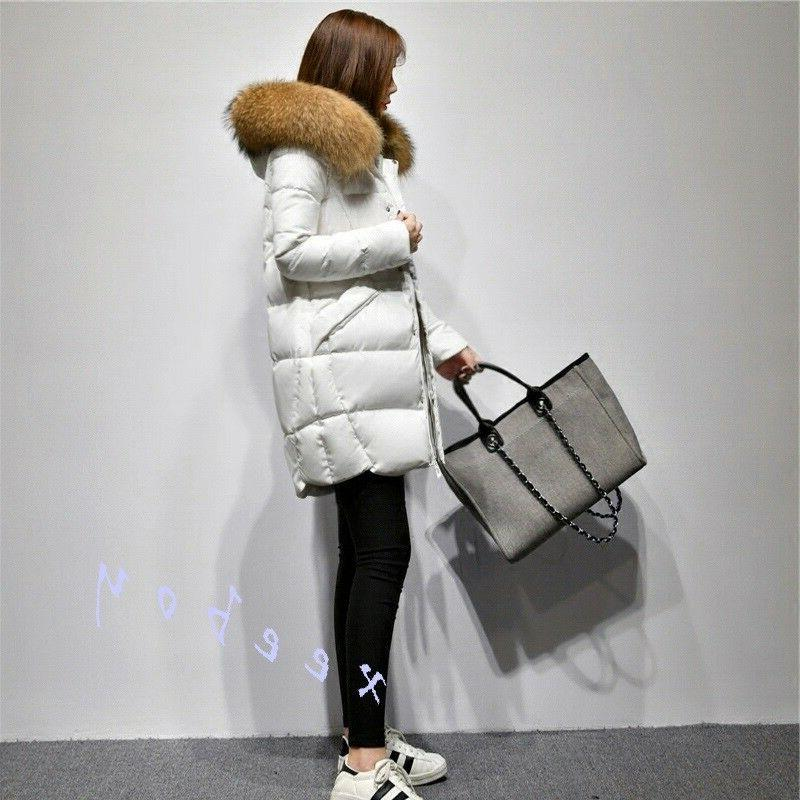 Fashion Women's Real Hooded Warm Thicken Coat Jacket Parka