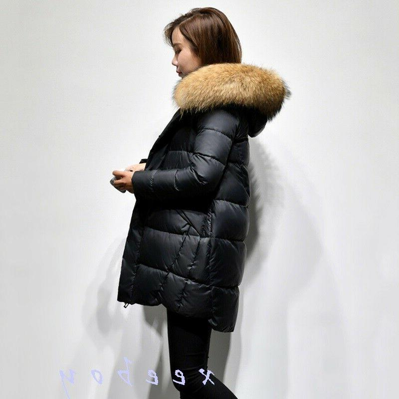 Fashion Women's Real Hooded Warm Thicken Parka