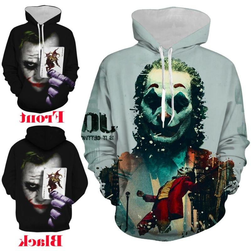 <font><b>Fashion</b></font> Clown 3D Printed Joker Pullover Women Hooded <font><b>Coat</b></font> Autumn