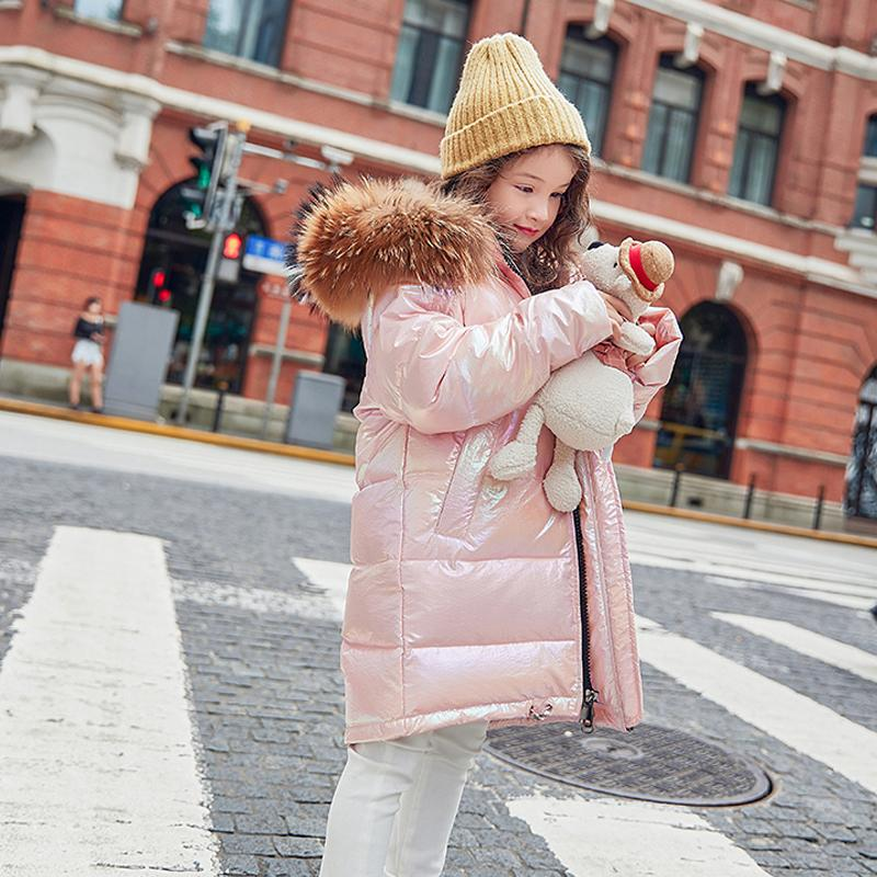 Free Fashion Girl Down Jacket Warm Child Down <font><b>Coat</b></font> Fur <font><b>Kid</b></font> Outerwear For