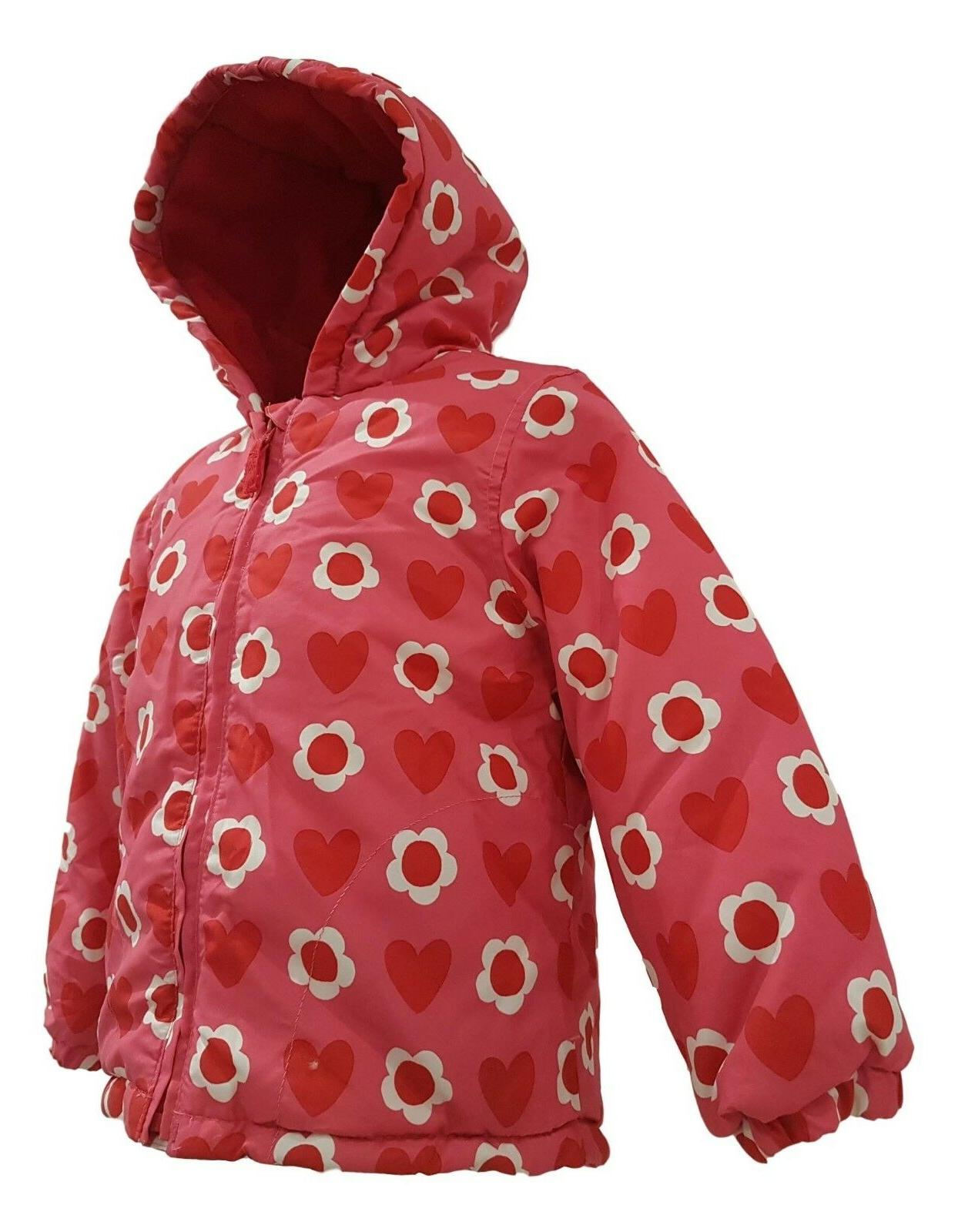 Girls Jacket Winter Quilted Fleece Lined