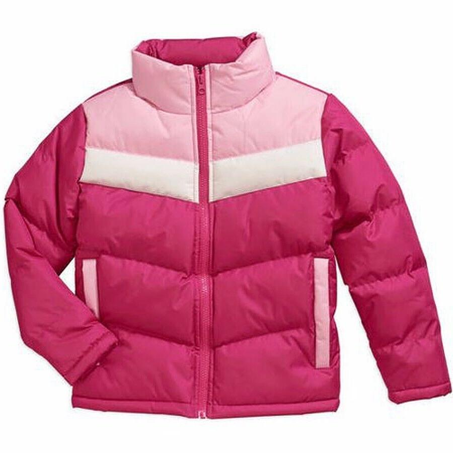 girls colorblocked puffer coat fuchsia large 10