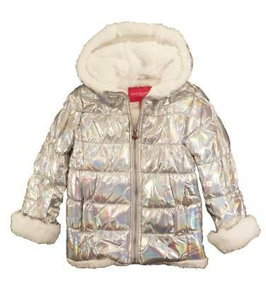 girls silver holographic metallic puffer outerwear coat