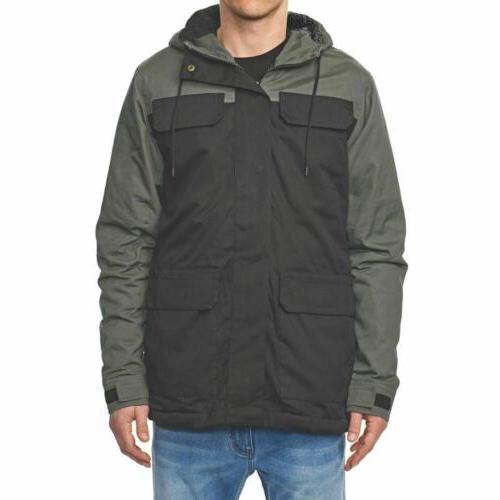 goodstock blocked parka black winter coat jacket