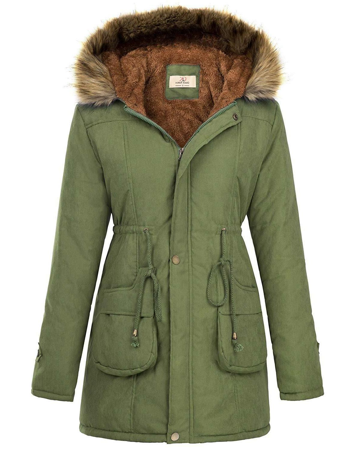 GRACE KARIN Hooded Warm Winter Thicken Lined Parkas