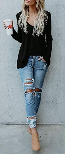 Beautife Fall V Button Long Sleeve Loose Knit Sweaters Tops