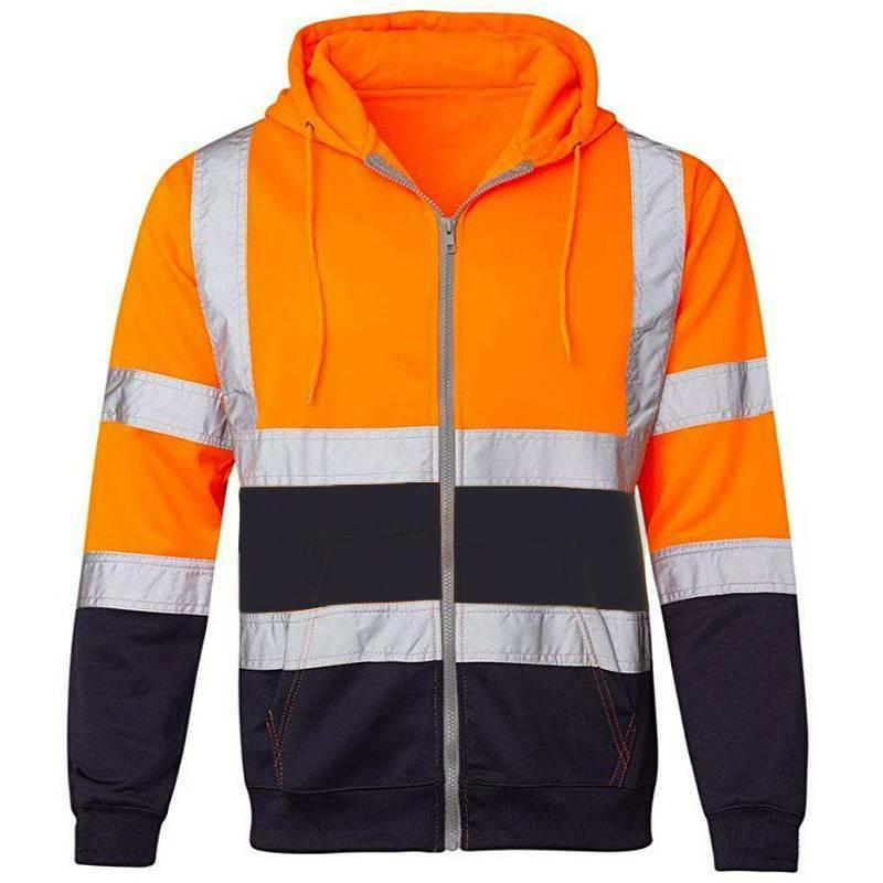 Hi Visibility Hooded Coat Sweatshirt Safety Work Hoodie Insulated