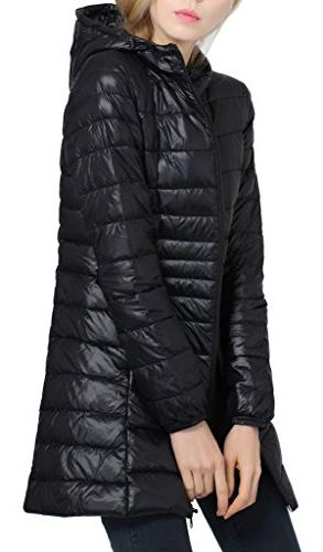 Women's Hooded Down Puffer Coat Down Black Small