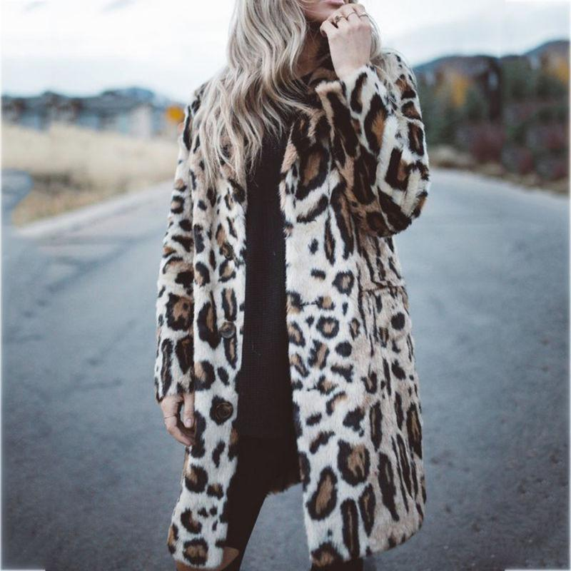 Hot Winter Fur Leopard Warm Jacket Cardigan Coat Outwear