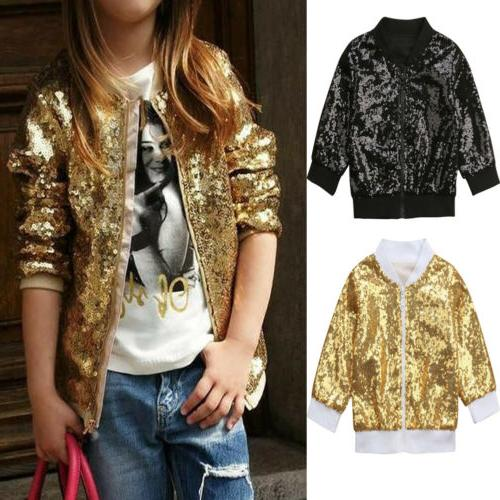 Kid Girls Sequins Thick Outwear