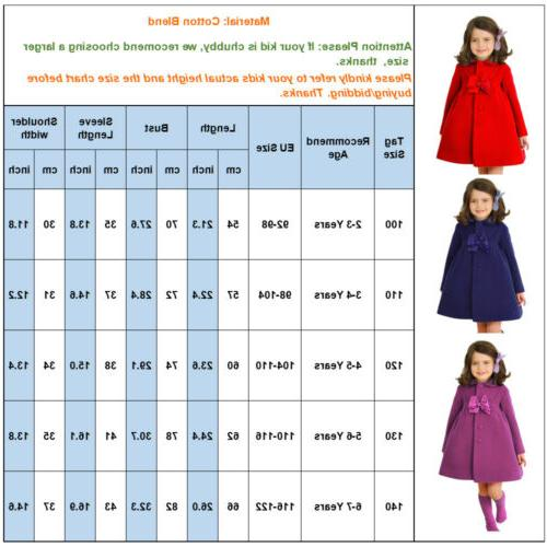 Kids Girls Long Trench Coats Winter Outerwear Wind Swing